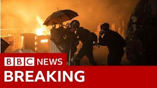 Clashes erupted at the Chinese University of Hong Kong - BBC News