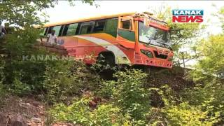 Tourist Bus Escaped Accident in Dhauli