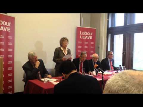Kate Hoey MP quotes Tony Benn on EU lack of democracy at Labour Leave launch.