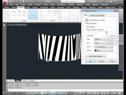 AutoCAD 2012 Video Tutorial - 3D Design & Modeling - Surface Design. Zebra Stripes