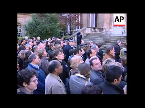 Ceremony to mark handover, after Sarkozy resigns to focus on presidential bid