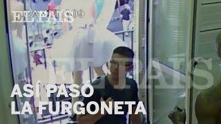 لحظة عملية الدهس في هجوم برشلونة الإرهابي