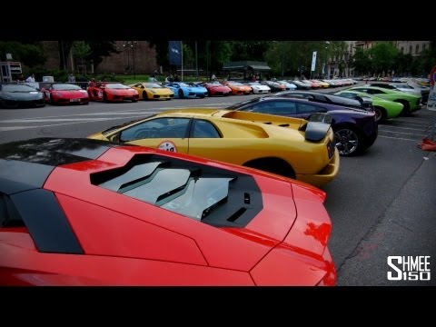 350 LAMBOS! Tour of the Lamborghini 50th Anniversary Grid
