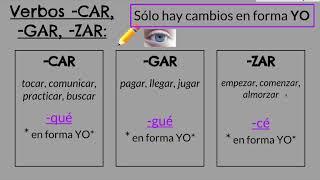 Pretérito irregular -CAR -GAR -ZAR y cambios de raíz