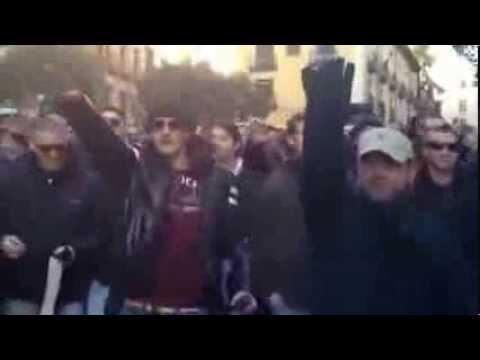 Ultras del Lazio caminan por Madrid haciendo el saludo fascista y cantando 23 02 2012