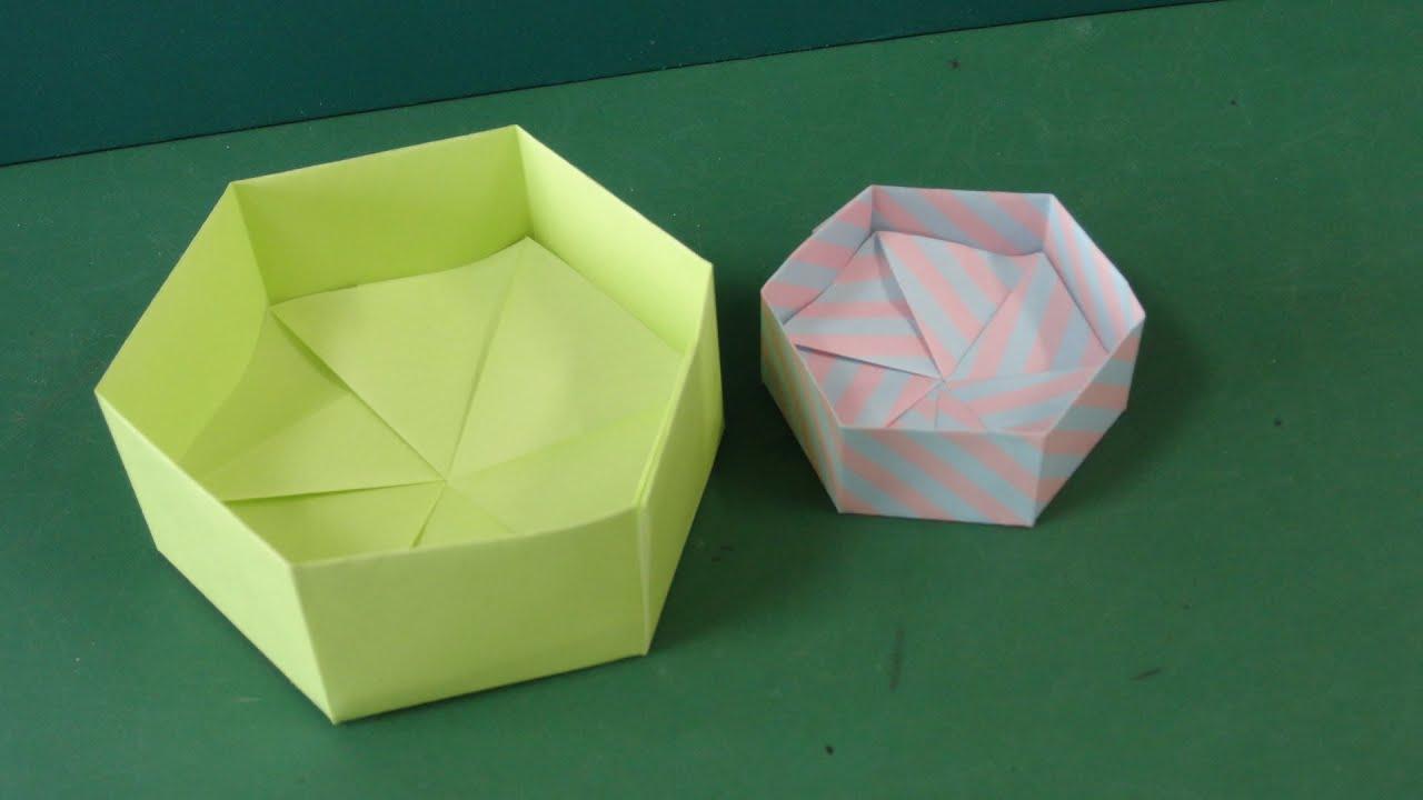 Origami Hexagon Box : 箱 折り方 折り紙 : 折り方