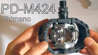Shimano M424 SPD Pedals - closeup & unboxing - for MTB