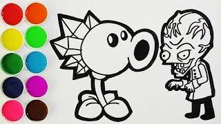 Plantas Vs Zombies 2 - Como Dibujar y Colorear Lanzaguisantes de Hielo | FunKeep