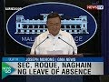 NTG: Sec. Roque, naghain ng leave of absence