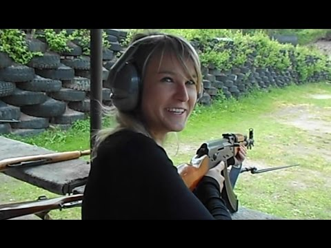 Blonde girl - shooting AK47 kalashnikov for the first time