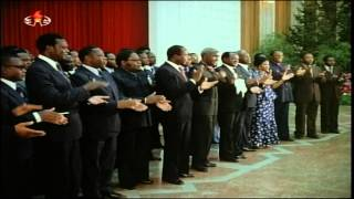 Africans sing for Kim Il Sung and Kim Il Sung in Algeria