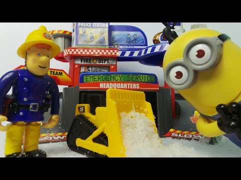 Vancouver Fire Station Clearing the snow with Caterpillar Inc. Fireman Sam, and Minions help