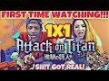 Attack On Titan 1x1 REACTION (First Time Watching!) | Anime Eats