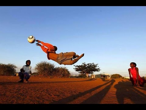 African Children training goalkeeper !!!