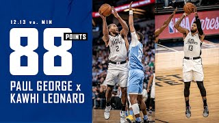 Paul George and Kawhi Leonard Combine for 88 Points in win vs. T'Wolves | LA Clippers