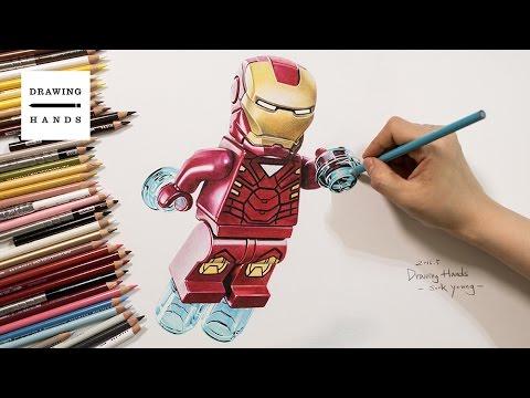 캡틴아메리카 시빌워  - 레고 아이언맨 (Speed Drawing Civil War Lego - Iron man) [Drawing Hands]