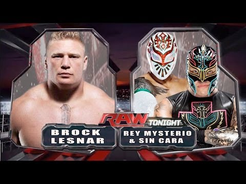 WWE RAW 2014 - Brock Lesnar vs Rey Mysterio & Sin Cara - Full Match HD