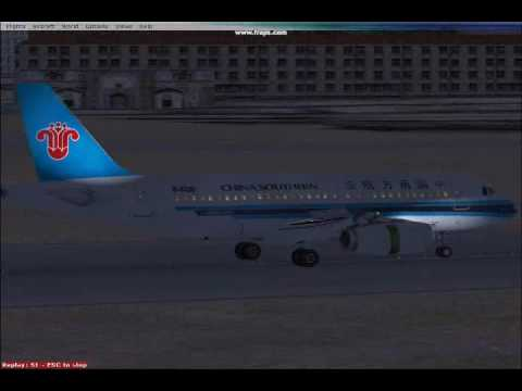 FSX China Southern Airlines A319  Landing in Dalian-Zhoushuizi International Airport