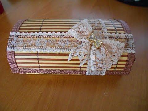 Шкатулка своими руками из соломенной салфетки
