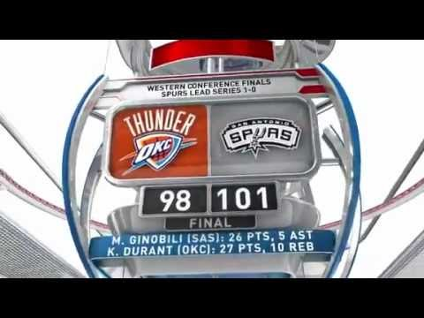 San Antonio Spurs defeat Oklahoma City Thunder in Game 1 (2012 NBA West Finals)