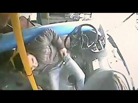 Narrow Escape Caught on Camera - Bus Driver Escapes Piercing Post