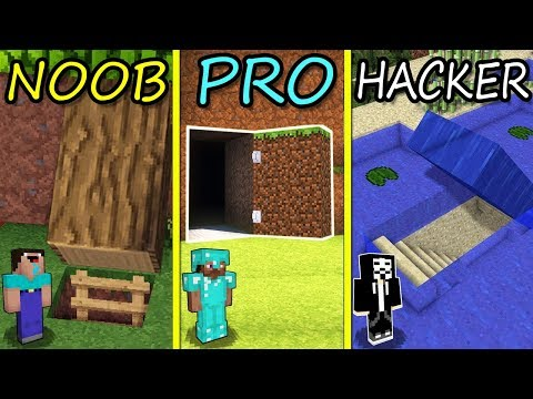 Minecraft Battle: NOOB vs PRO vs HACKER: SECRET BASE in Minecraft MAP!