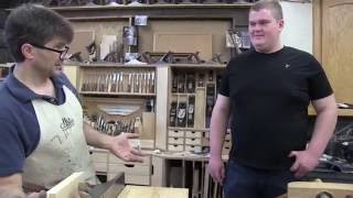 Woodworking hand skills taught to HS student Gregg by Rob Cosman