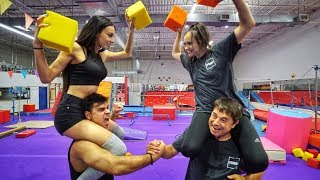 COUPLE vs COUPLE GYM CHALLENGE (hilarious)