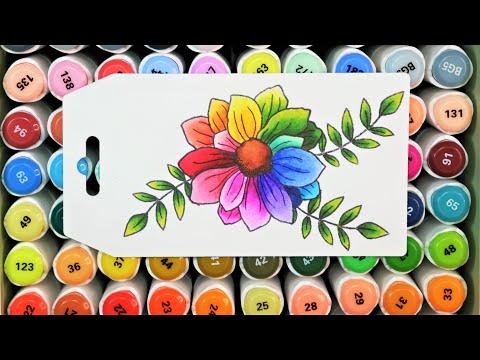 New Arrtx Alp Alcohol Marker Review PLUS Learn 15 Blending Combos & Color a Rainbow Flower