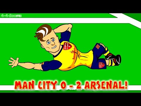 Santi Cazorla DANCE MAN CITY vs ARSENAL FC 0-2 (Goals Highlights Giroud)by 442oons Football Cartoon