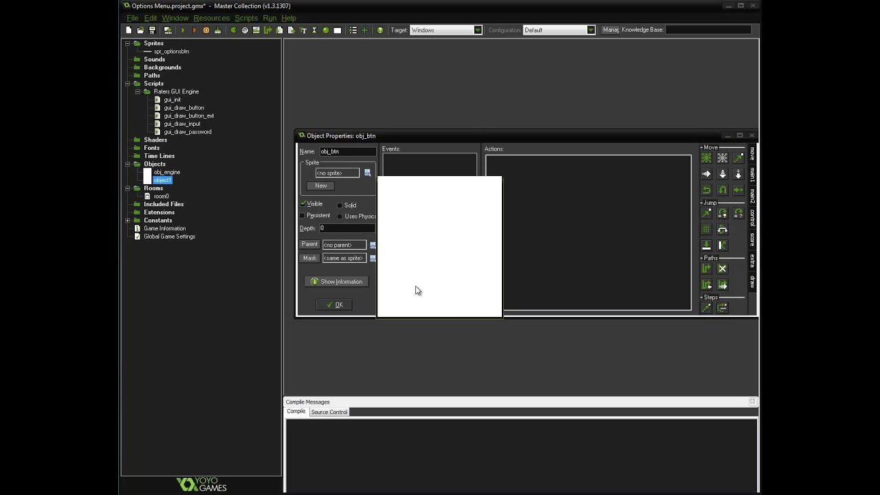 Menu Game Maker Game Maker Studio Options