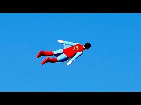 Radio-controlled flying Superman - no comment