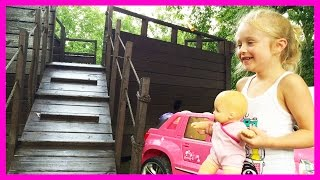 American Girl Bitty Baby Doll in Rain Puddles at the Pirate Ship Park Playground for Kids