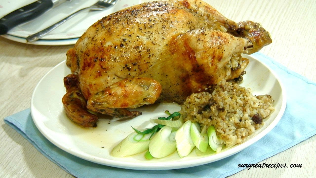 Roasted Chicken with Rice Stuffing - YouTube