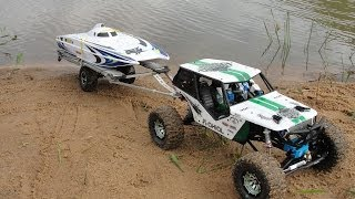 RC scale Axial Wraith Pulling and Launch RC Boat WildCat on lake - ECBROCK RC