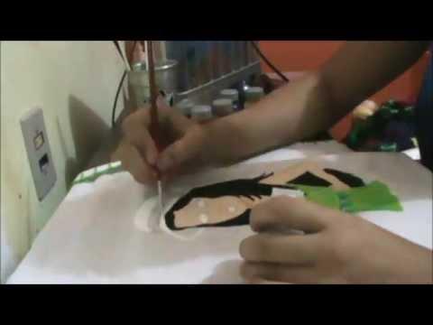 Pintura em tecido - boneca de cabelo preto