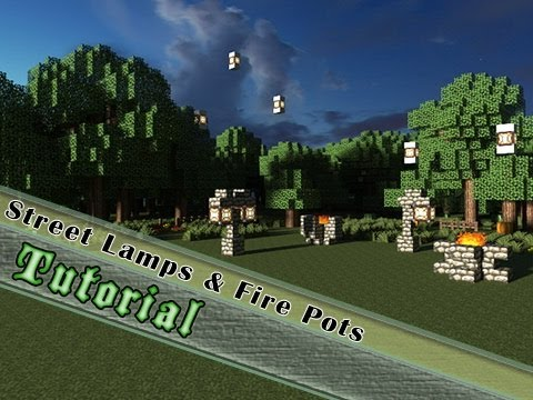 Minecraft Tutorial How To Build Street Lamps Amp Fire Pots