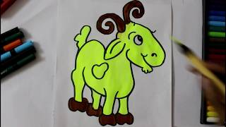 Creative Baby Goat drawing for kids with simple colors small retty baby goat drawing