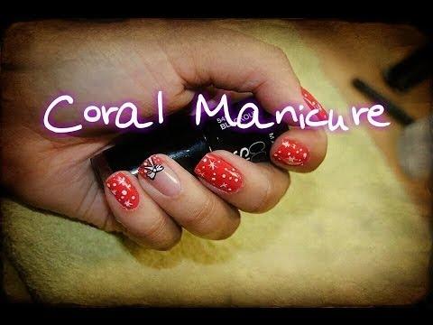 Diseño de Uñas Rojo Coral  y Francesita/Red-Coral French Nail Desing