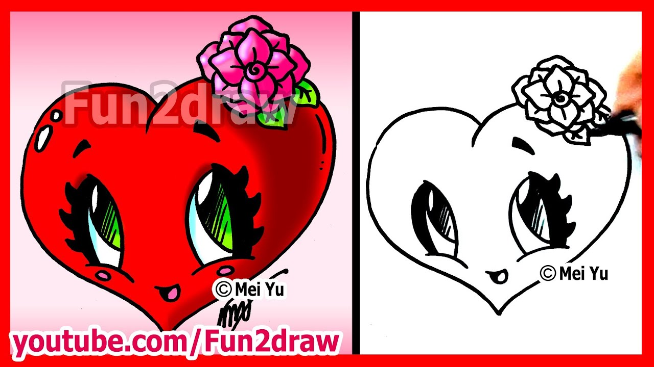 how to draw easy things heart with rose fun2draw. Black Bedroom Furniture Sets. Home Design Ideas
