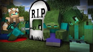 Monster School : RIP Zombie Mark   Zombie Sad Life 12 - Minecraft Animation