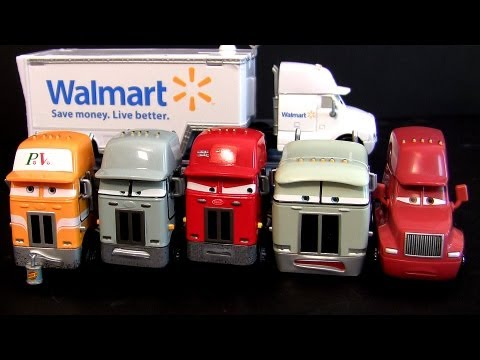 7 Pixar Cars Trucks Walmart Wally Hauler, Jerry Recycled Batteries Mattel diecast semi haulers toys Music Videos