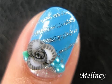 Nail Art Tutorial - Tinsel Pearl Flower Blue & Black Design for short nails
