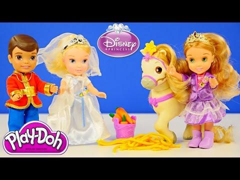 Play Doh My First Petite Princess Rapunzel And Pony Cinderella Prince Charming Disney Dolls video