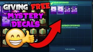 PRETENDING TO DUPLICATE ITEMS ON ROCKET LEAGUE! - Giving Away Free Mystery Decals! (Crying Reaction)