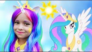 София как Принцесса , Kids Makeup Sofia DRESS UP Princess Celestia My Little Pony and Plays Dolls