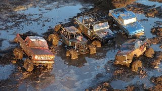 RC ADVENTURES - 5 TRUCKS in MUD SOUP COMPETE! SMOKE SHOW & BROKEN PARTS... Who Will WiN?