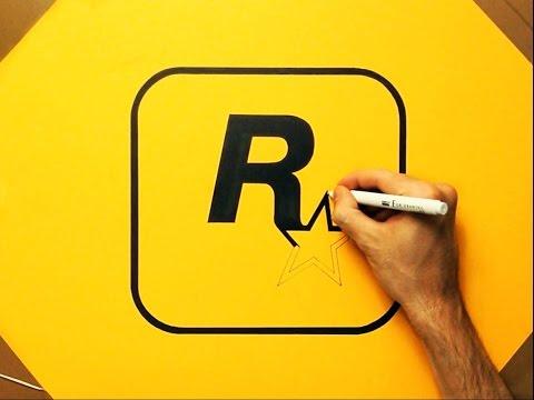 How To Draw Rockstar Grand Theft Auto GTA Logo - Fan Art Speed Drawing
