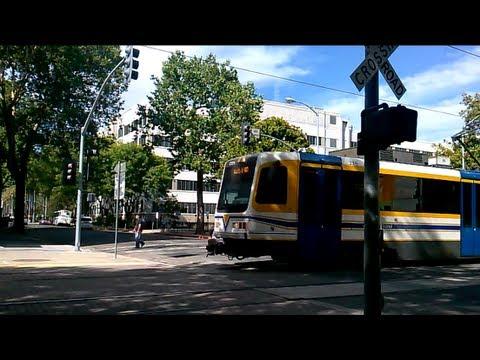 Sacramento SACRT Light Rail Double Trains 10th Street Railroad crossing - SACRT #235 and #215
