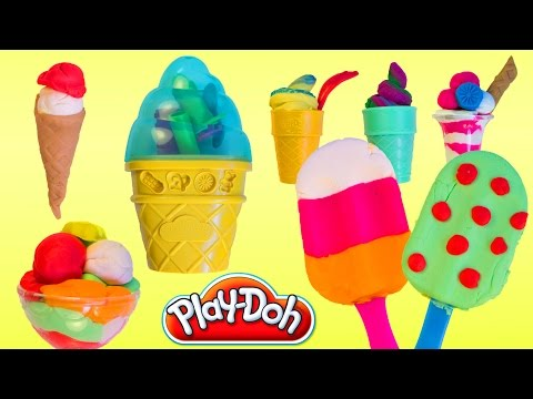 Play Doh Popsicles Ice Cream Play Doh Scoops 'n Treats Playdough Rainbow Popsicle Hasbro Toys Review